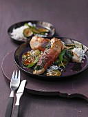 Saltimbocca with rice and courgette