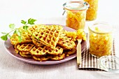 Parsley root waffles with quince chutney
