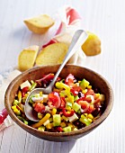 A Western salad with sweetcorn, kidney beans, peppers, tomatoes and feta cheese