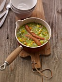 Pea soup with sausage bites