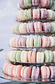 Pastel-coloured macaroons on a multi-tiered stand