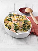 Pasta bake with spinach and salmon
