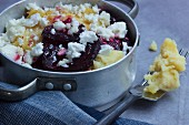 Mashed potato bake with beetroot and feta cheese