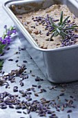 Liver pâté with lavender flowers