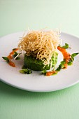 Baked tuna fish tatar on pea and mint guacamole