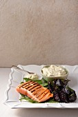 Salmon with beetroot and Gorgonzola sauce
