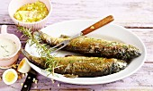 Fried trout with rosemary