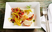Fried lobster tails with fennel