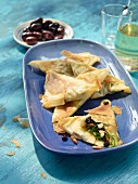 Filo pastry spinach turnovers