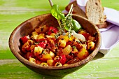 Warm vegetable salad with potatoes and peppers