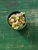 Creamy savoy cabbage with diced potatoes and bacon