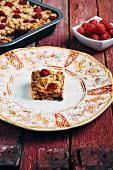 Raspberry and chocolate oat bars