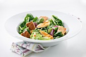 Green salad with chicken and croutons