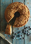 Blueberry cake with cinnamon and fresh blueberries