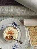 Cream dessert with biscuit crumbs