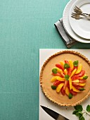 Orange and grapefruit pie with lemon balm