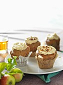 Apple cupcakes with caramel glaze