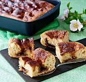Danish Brunsviger cake made with brown sugar