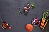 Various red vegetables