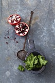 Superfoods: pomegranate seeds, chia seeds and kale crisps