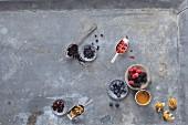 Super berries: various fresh and dried berries
