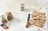 Vegan snacks: muesli bars and granola crunch