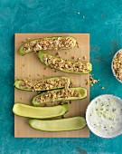 Stuffed courgettes with the yoghurt dip