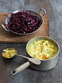 Cauliflower and turmeric soup with a red cabbage and argan salad
