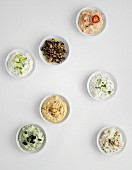 Bowls of various vegetarian dips