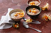 Vegan mesquite pudding with physalis