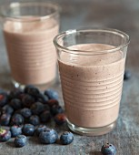 Vegan blueberry shakes with millet and sea buckthorn