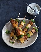 Vegan polenta and Brussels sprouts skewers with tofu remoulade