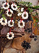 White almond wreaths as edible Christmas decorations