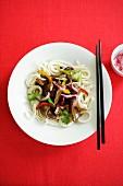 Beef fillet with soba noodles (Japan)