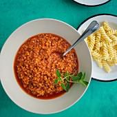 Vegan lentil Bolognese with oregano
