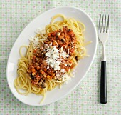 Vegetarian soya Bolognese with carrots and mushrooms