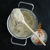 Classic rice pudding with cinnamon and sugar