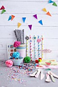 Colourful party decorations for a children's birthday party