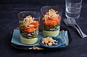 Oriental carrot salad with avocado hummus