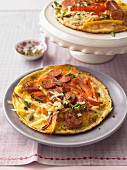 Savoury pancakes with chorizo, Parmesan and peppers