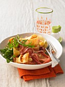 Pasta with rocket, mascarpone and Parma ham