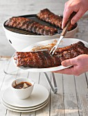 Grilled spare ribs with barbecue sauce