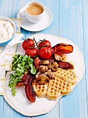 Buttermilk waffles with mushrooms, bacon and tomato