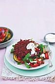 Beetroot rosti with roast vegetables