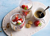Strawberry and ricotta desserts with an espresso
