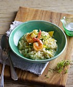 Quick lemon risotto with prawns