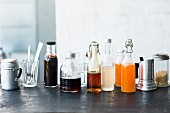 Bottles of homemade syrup