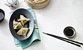 Steamed wonton with a vegetables filling (vegan)