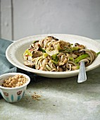 Stir-fried soba noodles with bok choy and oriental mushrooms