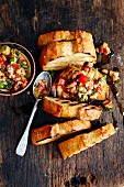 Oven-roasted warm aubergine salad with grilled bread (Turkey)
